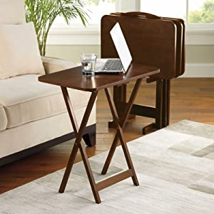 Mainstay 5 Piece Tray Table Set Folding Wood TV Game Snack Dinner Couch Laptop Stand (1)