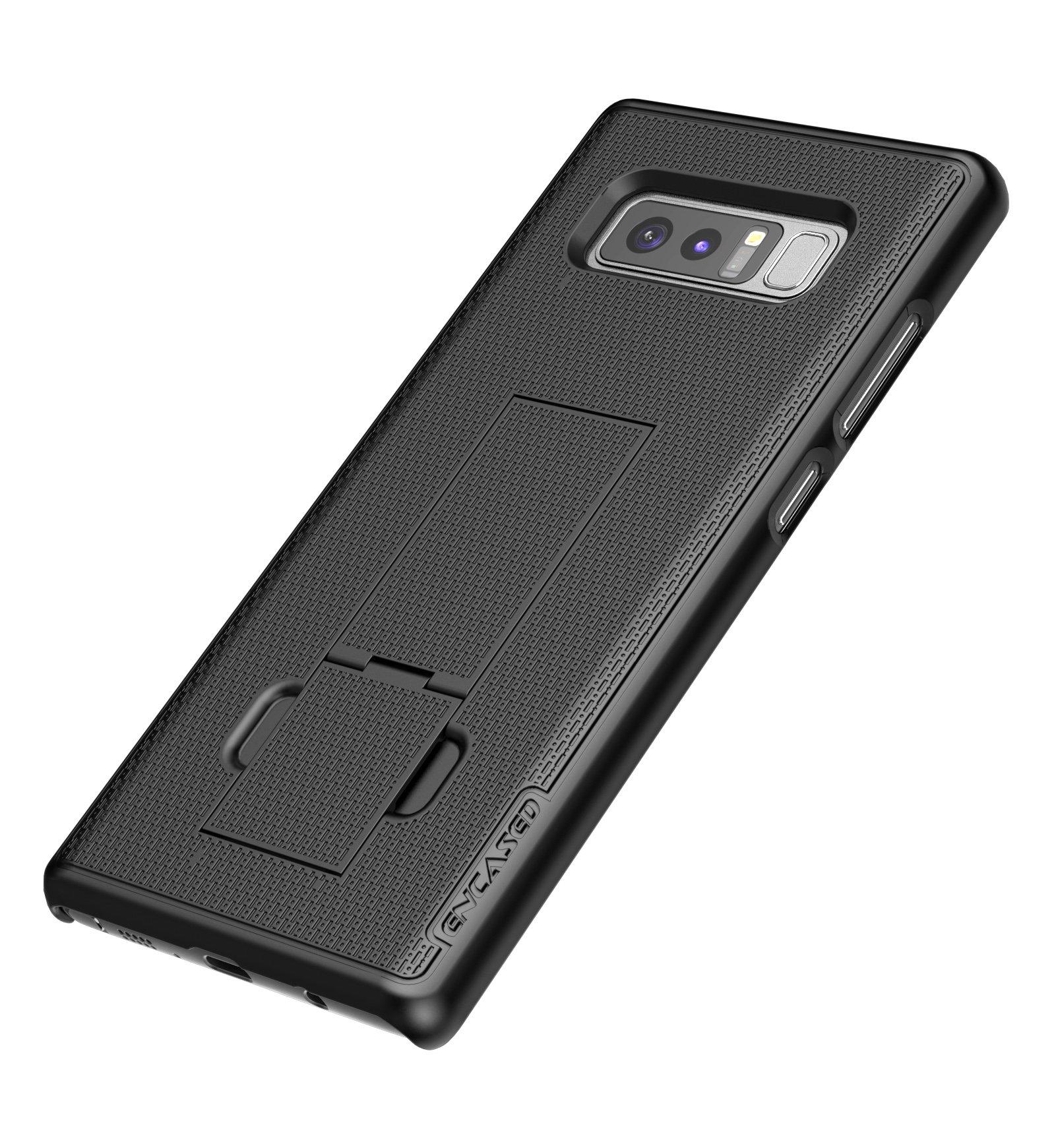 Samsung Galaxy Note 8 Belt Holster, Encased Thin Fit [DuraClip Series] Slim Grip Case & Belt Clip (Smooth Black) by Encased (Image #5)