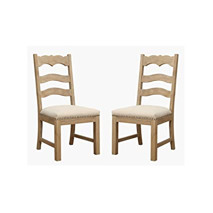 Tremendous Emerald Home Barcelona Rustic Pine And Beige Dining Chair With Upholstered Seat Ladder Back And Nailhead Trim Set Of Two Download Free Architecture Designs Jebrpmadebymaigaardcom
