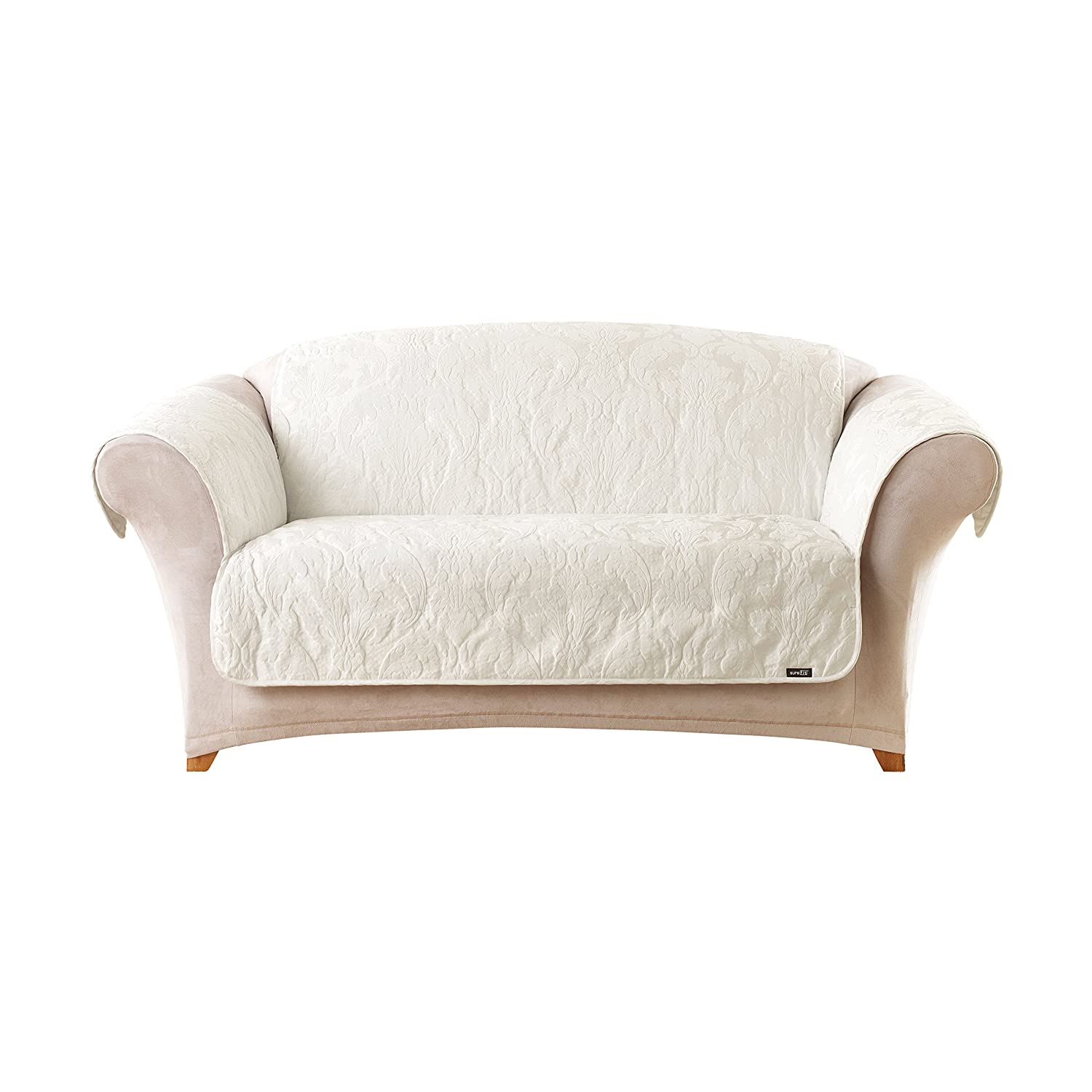 Amazon.com: Sure Fit Matelasse Damask   Loveseat Slipcover   White  (SF41413): Home U0026 Kitchen