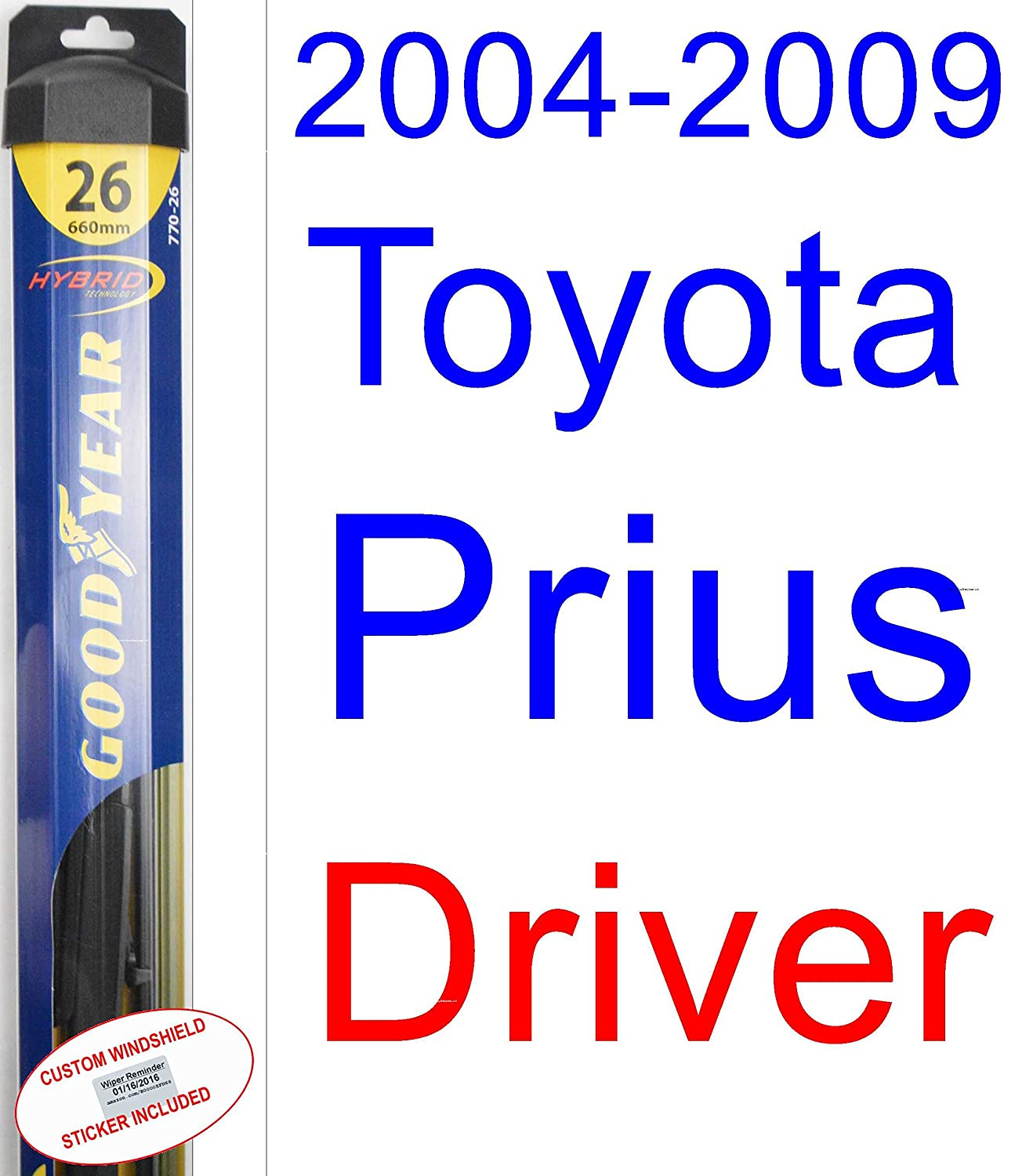 Amazon.com: 2004-2009 Toyota Prius Replacement Wiper Blade Set/Kit (Set of 3 Blades) (Goodyear Wiper Blades-Hybrid) (2005,2006,2007,2008): Automotive