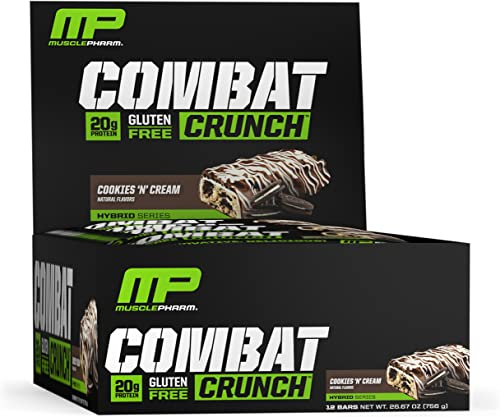 MusclePharm Combat Crunch Protein Bar, Multi-Layered Baked Bar, Gluten-Free Bars, 20 g Protein, Low-Sugar, Low-Carb, Gluten-Free, Cookies N Cream Bars, 12 Servings