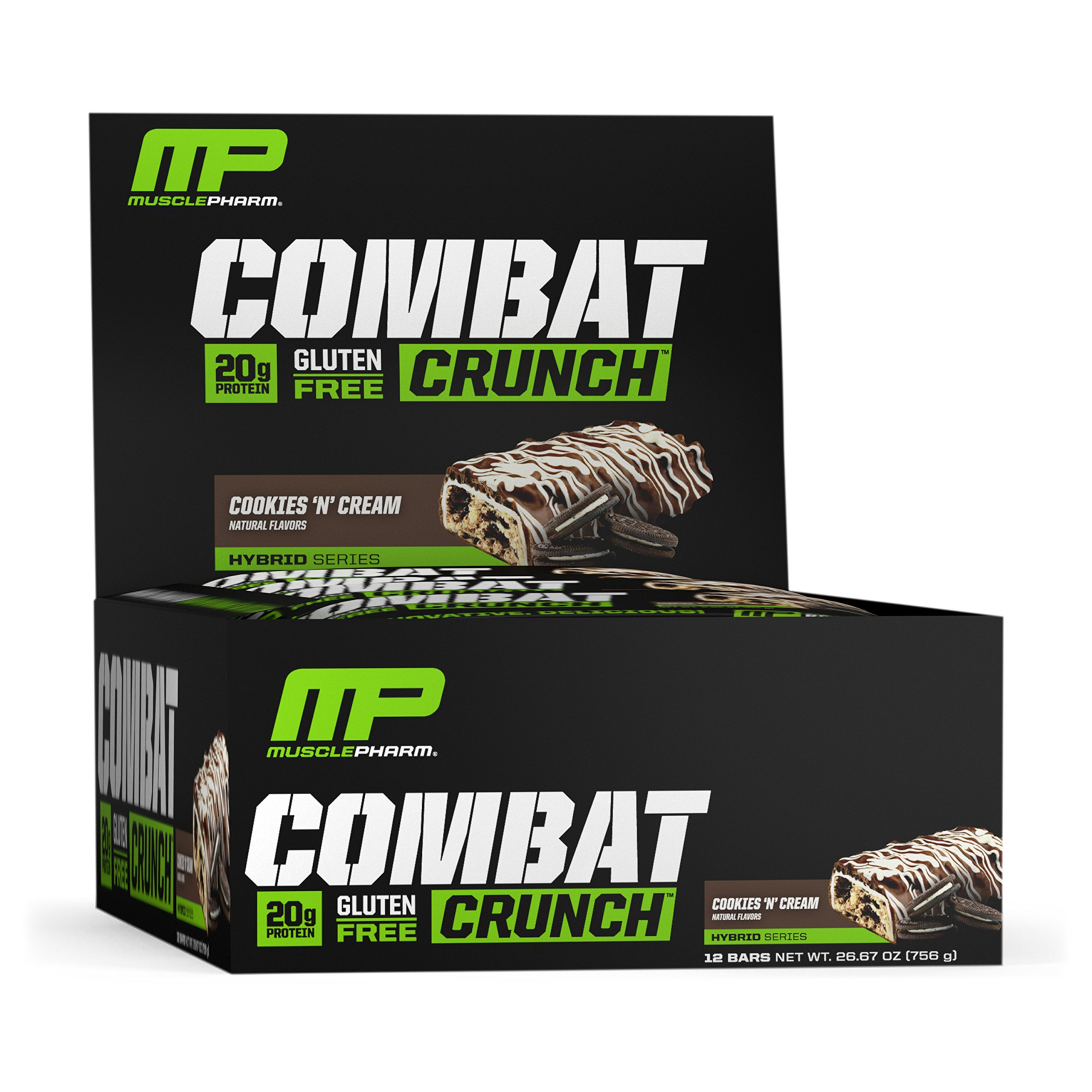 MusclePharm Combat Crunch Protein Bar, Multi-Layered Baked Bar, Gluten-Free Bars, 20 g Protein, Low-Sugar, Low-Carb, Gluten-Free, Cookies 'N' Cream Bars, 12 Servings by Muscle Pharm