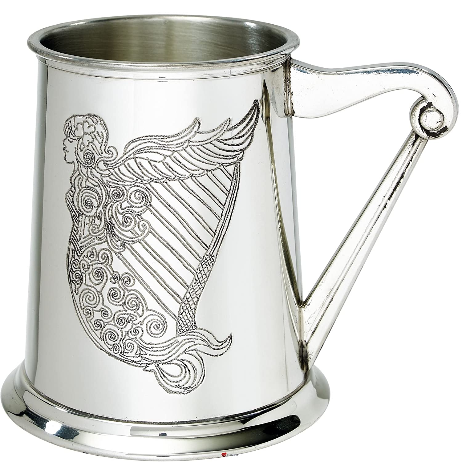Tankard 1 Pint Embossed Ireland Harp Pewter Irish Harp Shape Handle Ideal For Engraving