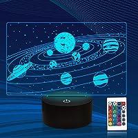 Zonnestelsel 3D Illusion Nachtlampje, CooPark Universe Space Galaxy Hologram Lamp met afstandsbediening, 16 kleuren…