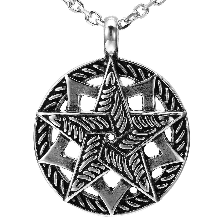 Noir, Argent Double Pentacle pentagramme Pendentif en acier inoxydable Cha/îne de 53.4/cm