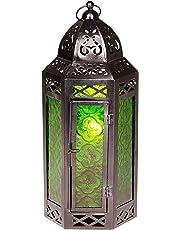 Marrakesch–Farol de Metal & Cristal Liyana 30cm, Vidrio de Farol de | marroquí Farol para Uso Interior, marroquí Jardín Wind Luz para Exterior como Farol de jardín