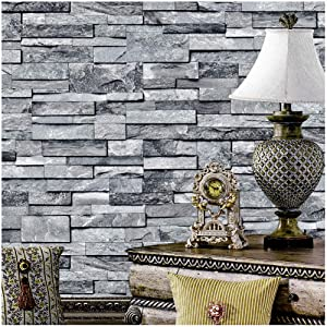 """YT1490 Faux Stone Brick Textured Wallpaper Rolls,3D Embossed Effect Wallpaper Decorating Bedroom Living Room Kitchen Hotel CLUB's Wall 20.8"""" x 33ft"""