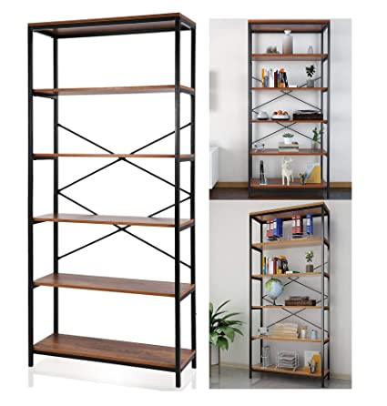 vividy 5 tier vintage style bookcase furniture wood and steel frame open wide bookshelf tall - Steel Bookshelves