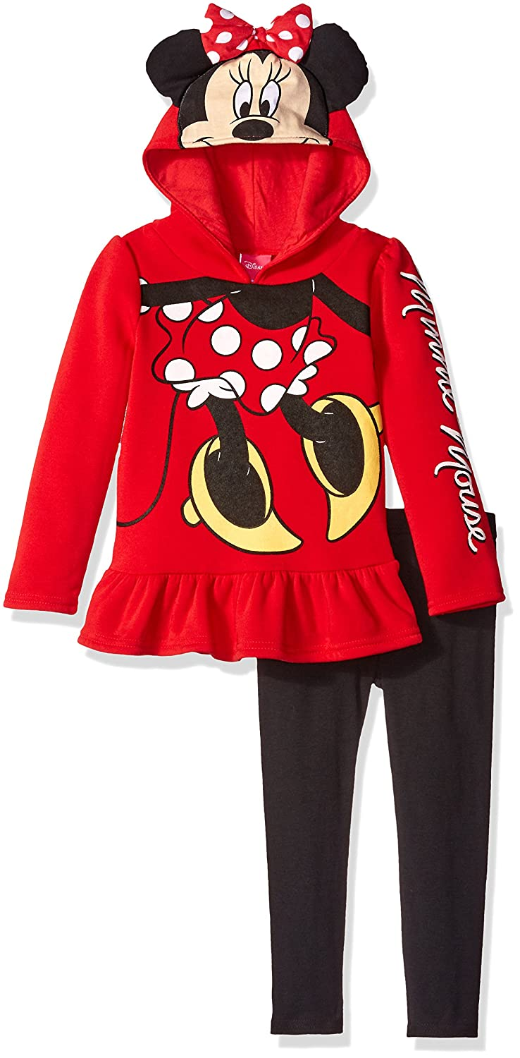 Disney Girls' Minnie Mouse 2-Piece Legging Set, Roleplay Red, 5 5ym9838