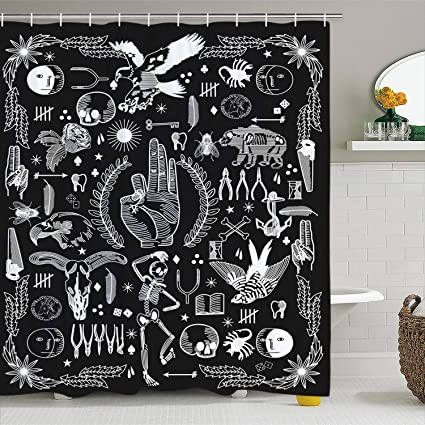 Amazon BLEUM CADE Psychedelic Shower Curtain Black And White