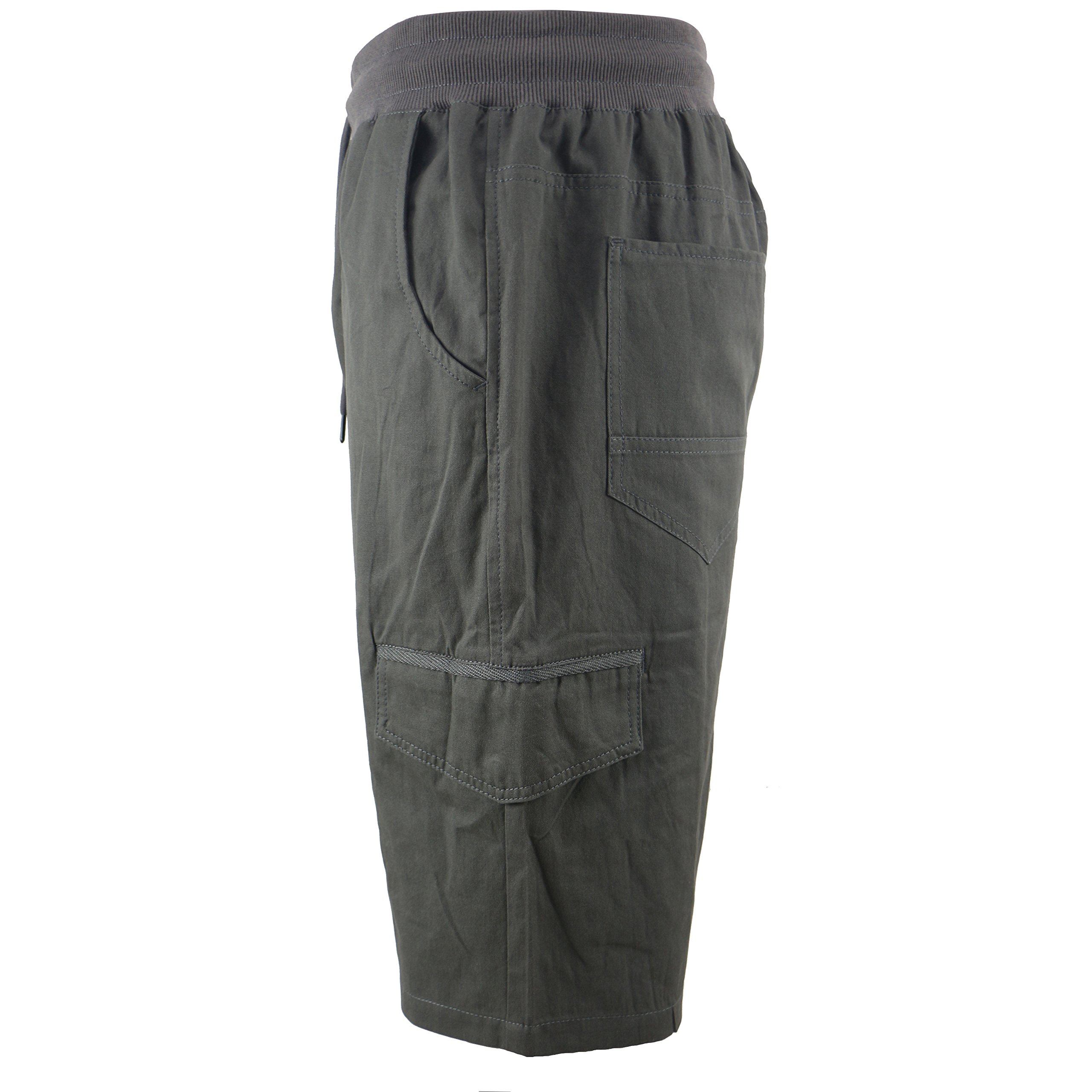 Tanbridge Men's Cotton Cargo Shorts with Pockets Loose Fit Outdoor Wear Twill Elastic Waist Shorts Grey 36 by Tanbridge (Image #2)