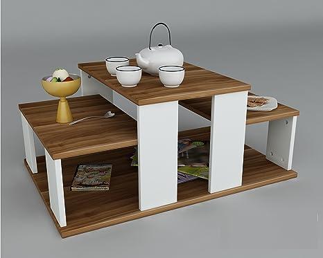 Tavolino basso da salotto echelon bianco noce materiale in