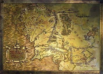 Carte Terre Du Milieu Hd.Carte Du Hobbit Le Seigneur Des Anneaux Poster Carte De La
