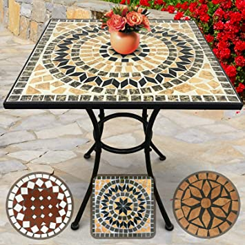 Table de Jardin Mosaïque | Carrée, 60x60x70cm, Beige-Noir-Blanc | Design au  Choix | Table Guéridon, Bistrot, Terrasse, Balcon