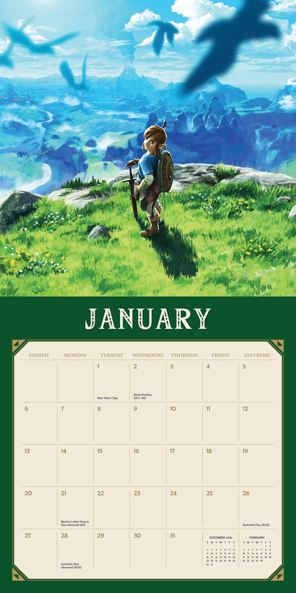 Legend of Zelda: Breath of the Wild 2019 Wall Calendar: Nintendo