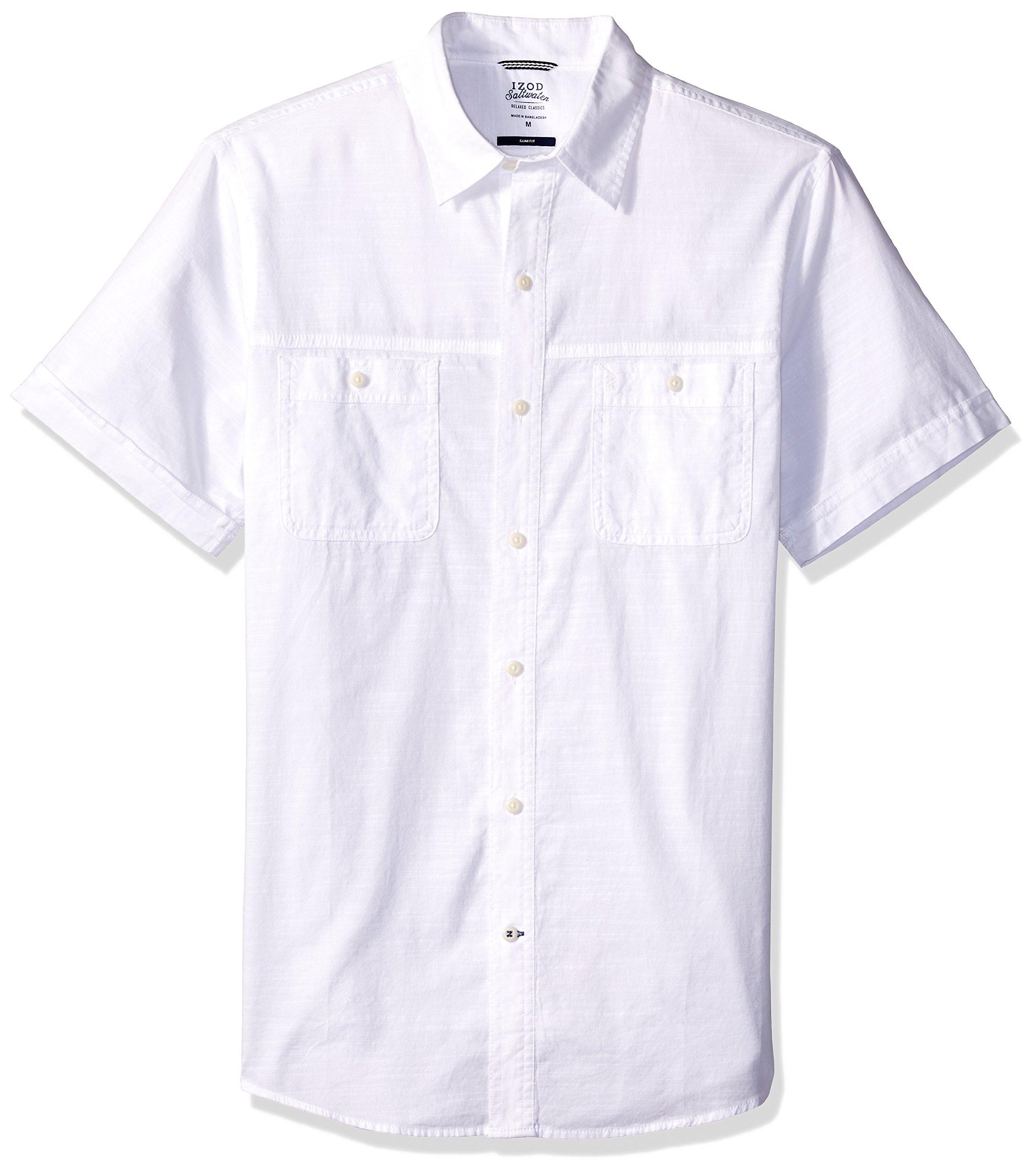 IZOD Men's Saltwater Dockside Chambray Solid Short Sleeve Shirt, Bright White, X-Large Slim