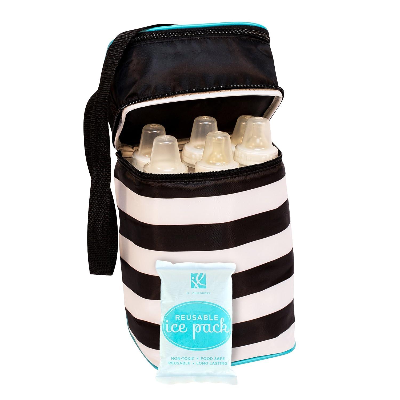 J.L. Childress 6 Bottle Cooler, Black Stripe with Teal J.L. Childress Co. Inc. 3105BLK-ST