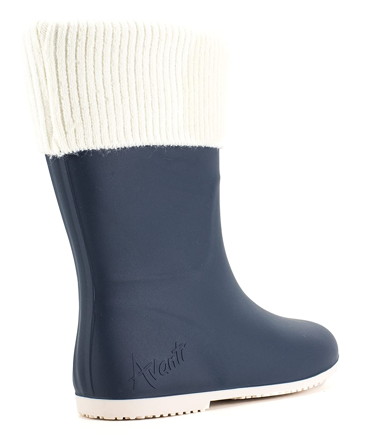Avanti Storm Rain Boot Waterproof With Removable Knitted Cuff Monogram-Able Foldable B078SXHHNC 6 B(M) US|Navy and Cream