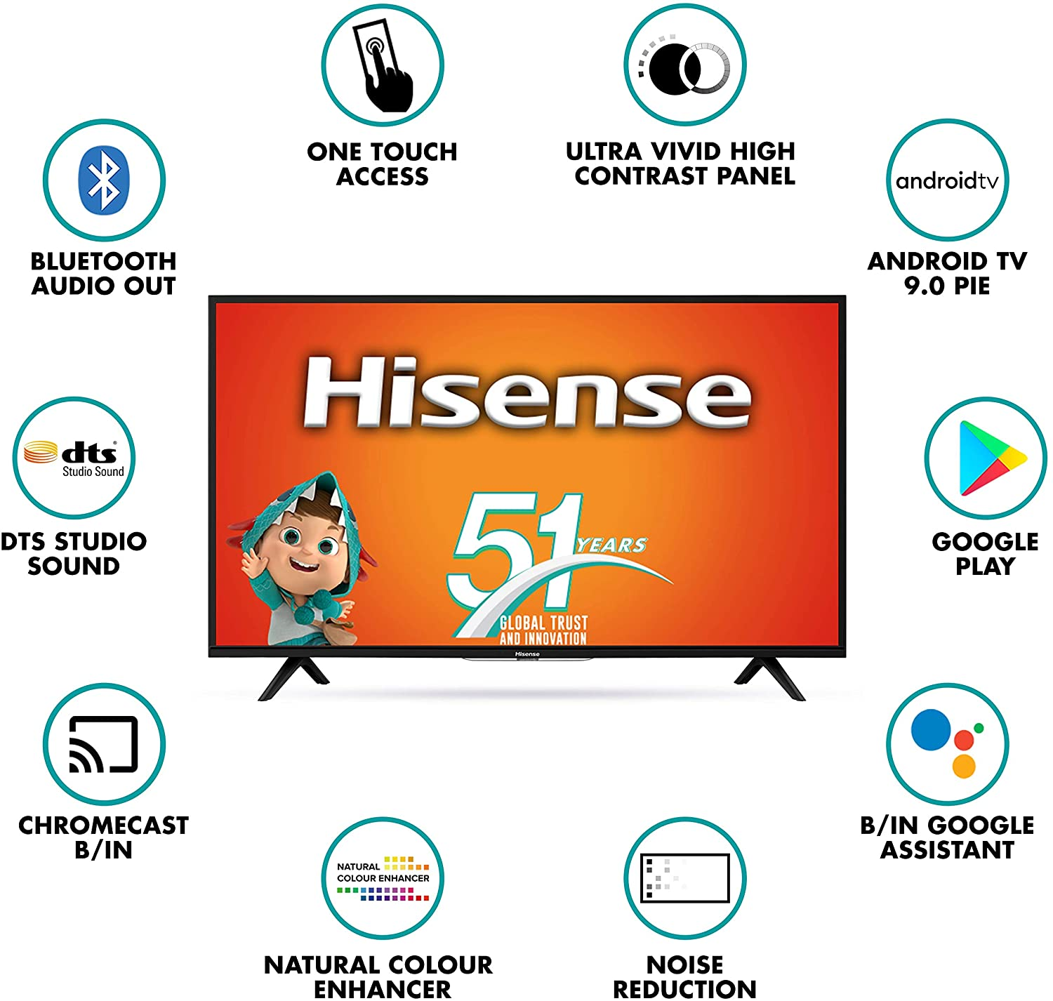 Hisense 108 cm (43 inches) Full HD Smart Certified Android LED TV