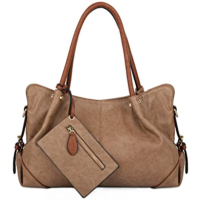 60693e917e Amazon.com  UTO Women Hobo Purse 3 Pieces Handbag Set PU Leather Tote Bag  Satchel Shoulder Bags with Wristlet Wallet Mud Color.  Shoes