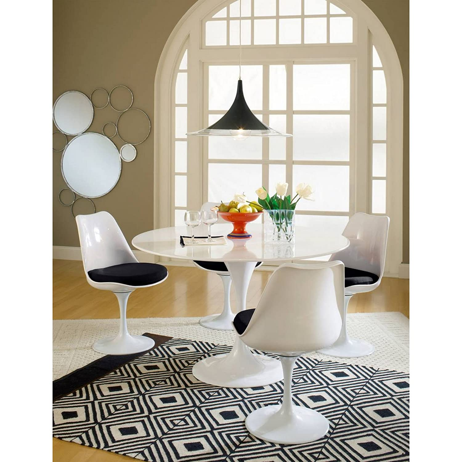 Amazoncom Modway Lippa Piece Fiberglass Dining Set In Black - Eero saarinen tulip table and chairs