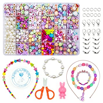 Wonderforu Children Diy Beads For Jewellery Bracelet Necklaces String Making Kit Friendship Bracelets Art Craft Kit For Girls Kids 24 Colors