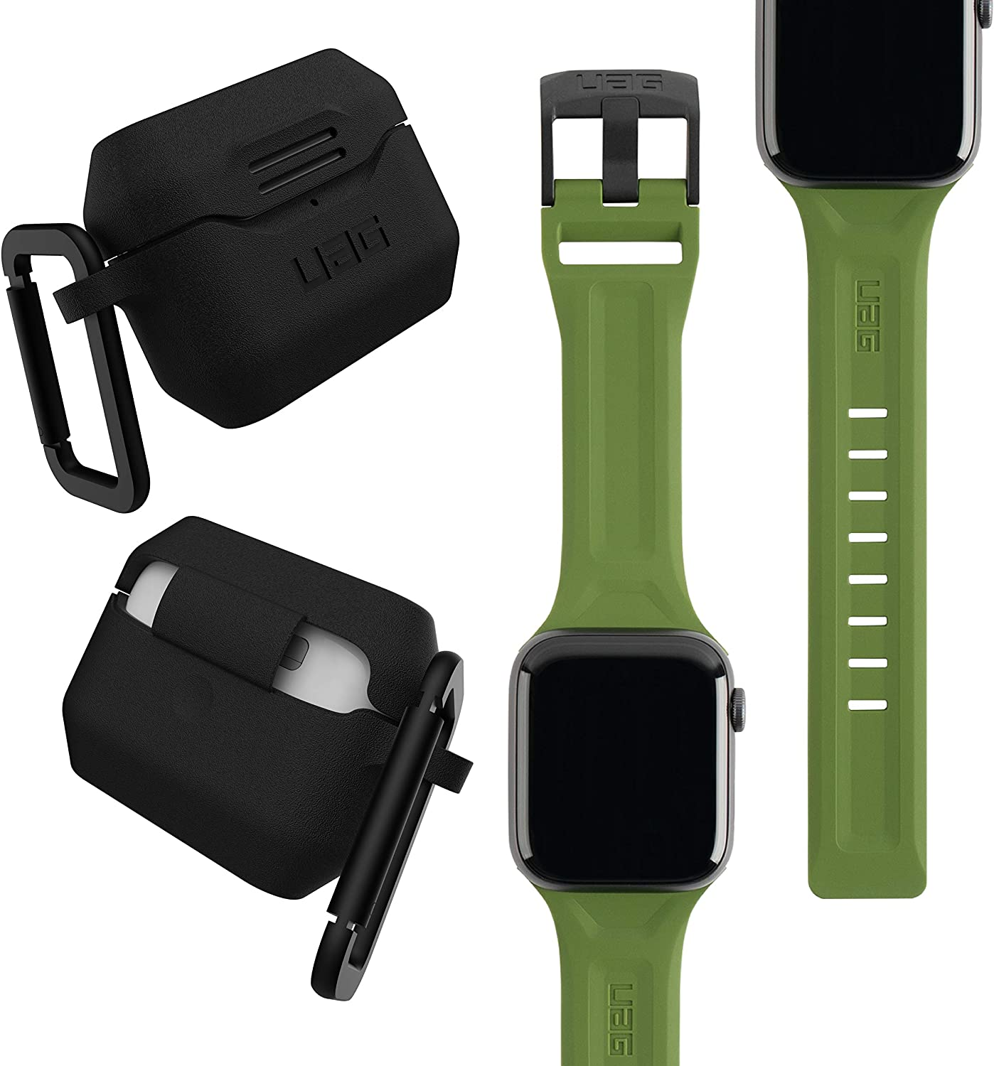 UAG Apple Watch Band 44mm 42mm, iWatch Series 6/5/4/Watch SE Replacement Strap, Scout Olive + AirPods Pro Case with Detachable Carabiner, Black
