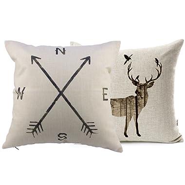 VOGOL Simmias Cotton Linen Throw Pillow Case Cushion Cover, Elk,Nautical Anchor,Set of 2