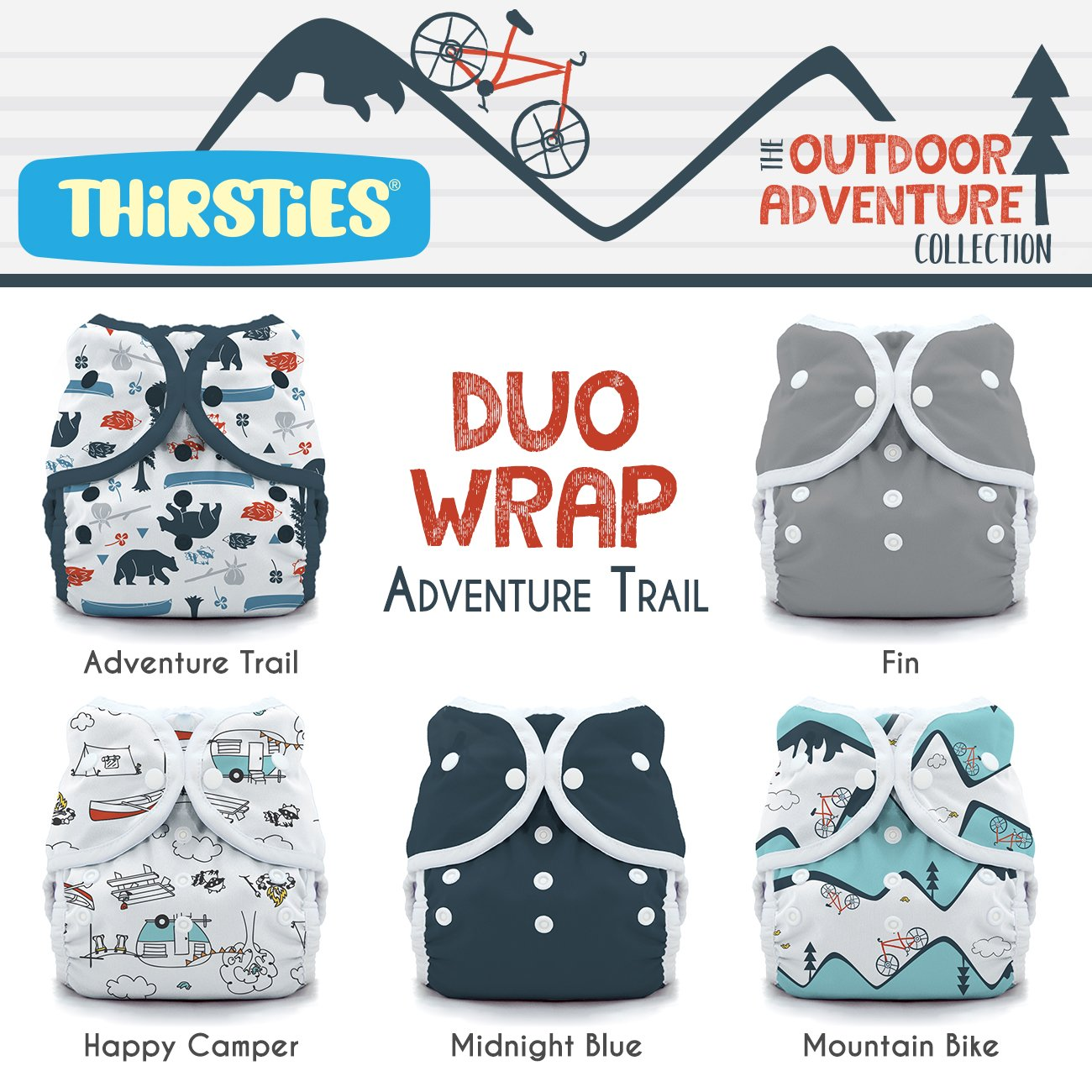 Thirsties TDWPSOACAT2 Package Snap Duo Wrap Outdoor Adventure Collection, Adventure Trail, Size Two (18-40-pound)