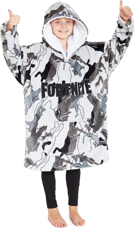 Fortnite - Sudadera con capucha para niños, gran tamaño con capucha, supersuave, bata de forro polar, cálida y cómoda, regalo para jugadores, niños, niñas y adolescentes de 7 a 14 años