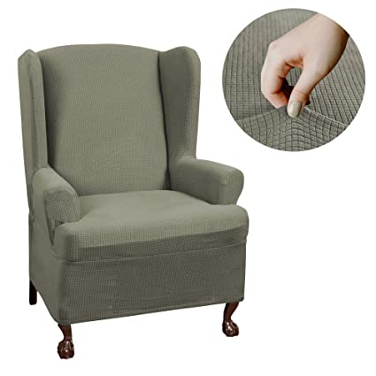 MAYTEX Reeves Stretch 1   Piece T U2013 Cushion Wingback Chair With Arms  Furniture Cover Slipcover