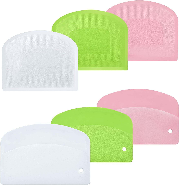 Bread Dough Plastic Bowl Scraper: 6PCS Food Safety Flexible Plastic Multi-function Kitchen Tool Bench Scraper | Practical Pizza Cutter Multipurpose Cake Chopper for Bread Dough Cake Fondant Icing