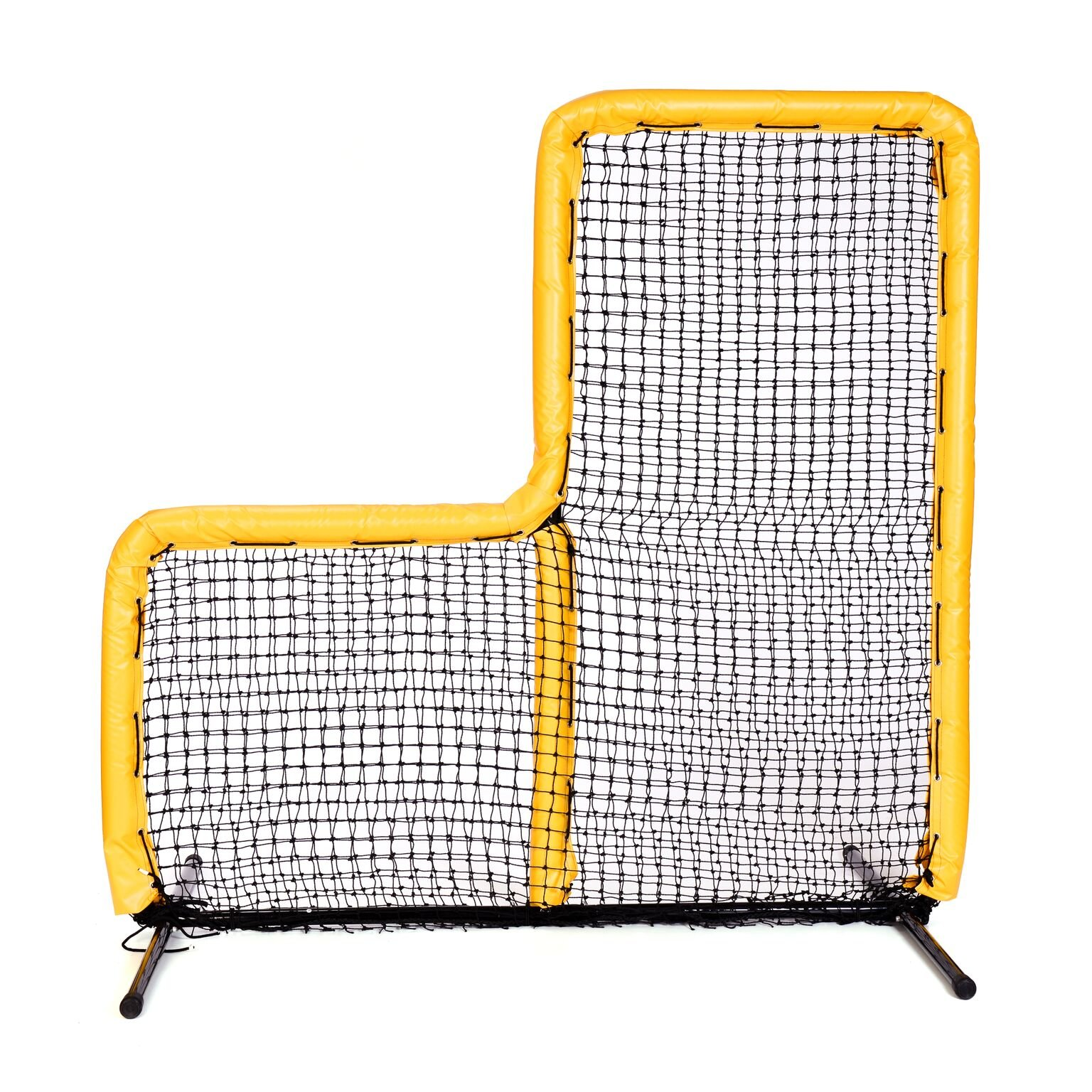Armor Series Pitching Screen Baseball Softball Practice Net with Screen Bulletz Leg Caps. 7x7 L-Screen Perfect for Baseball and Softball Batting Practice. Choose Padding Color. (Yellow) by Armor
