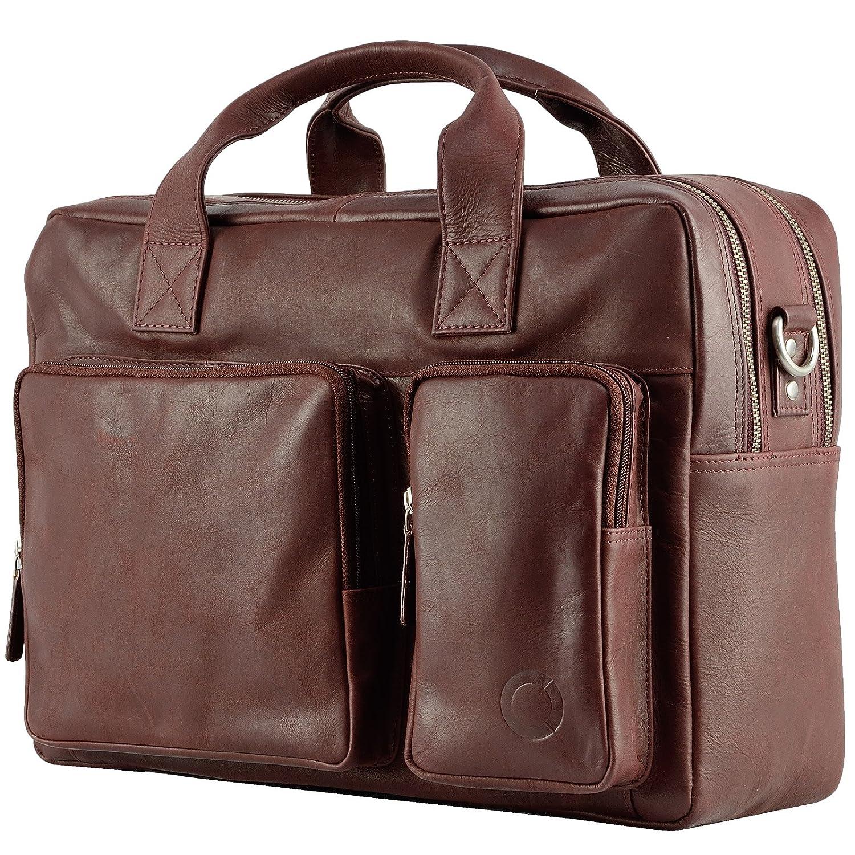 Echt Leder Messenger bag Business Tasche Aktentasche Herrentasche Schultertasche Umhängetasche DIN-A4 Braun Laptoptasche Notebooktasche Cognac MB-2-nb