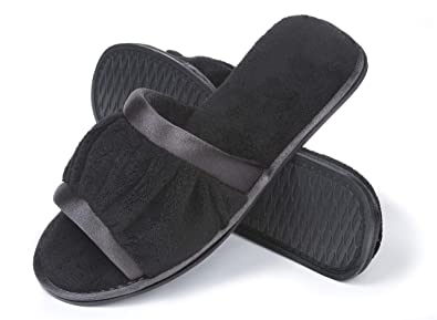 b7a14120ca6d Roxoni Women s Open Toe Slide Slipper   Ideal Terry Cloth House Shoe for  Indoor and Outdoor