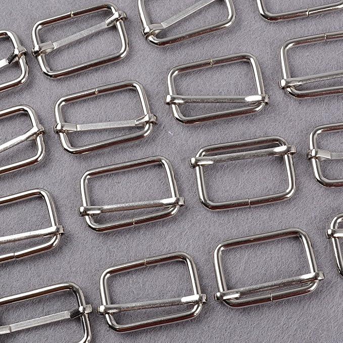 BETESSIN 60pcs Hebillas Metálicas - 30pcs Anillas en D + 30pcs Anillas Rectangulares Color Plateado para Correas Cinturón Mochila Bolso DIY: Amazon.es: ...