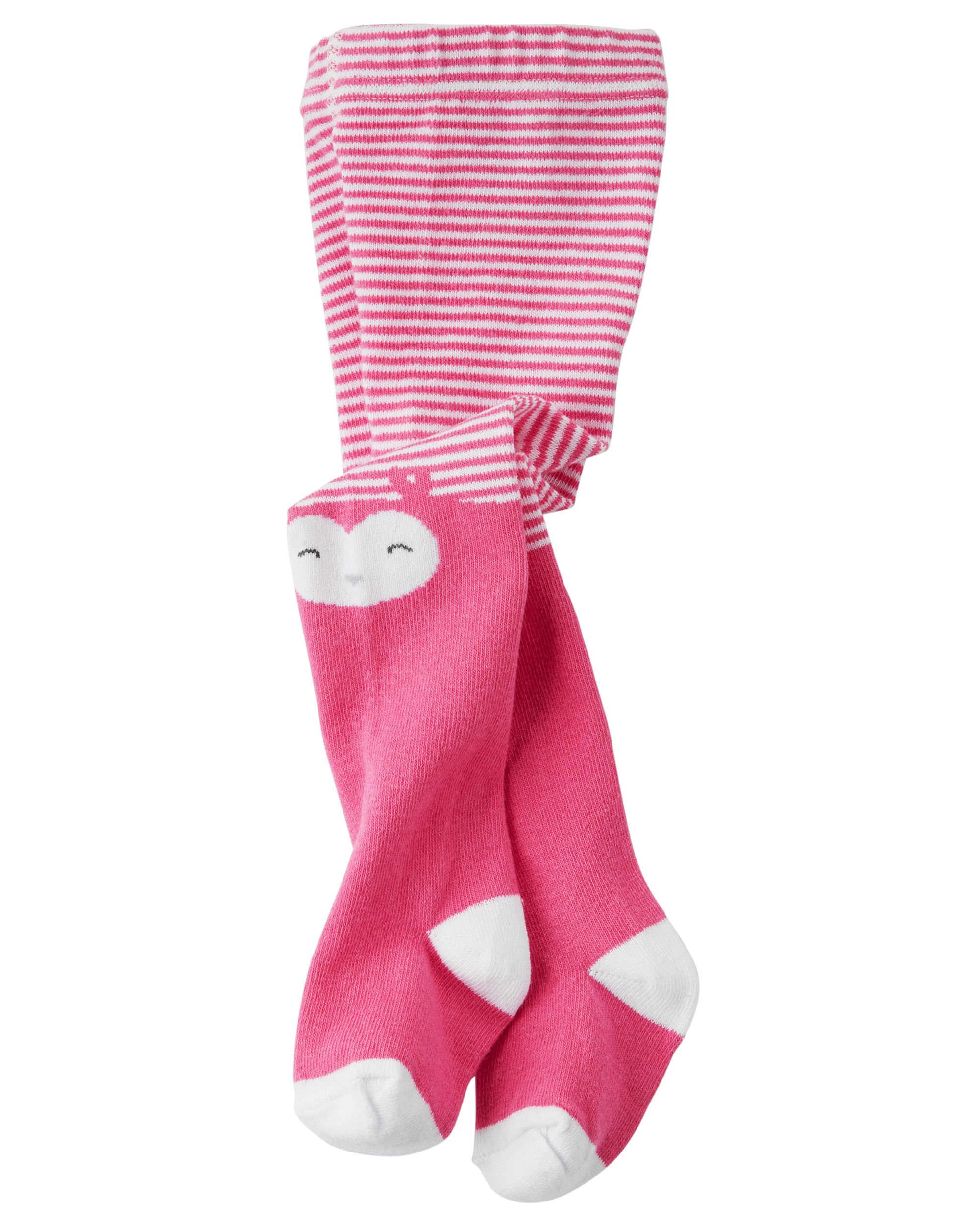 Carter's Little Girl`s Tights (9-18 Months, Striped Owl (CR03362) / Pink/White) by Carter's