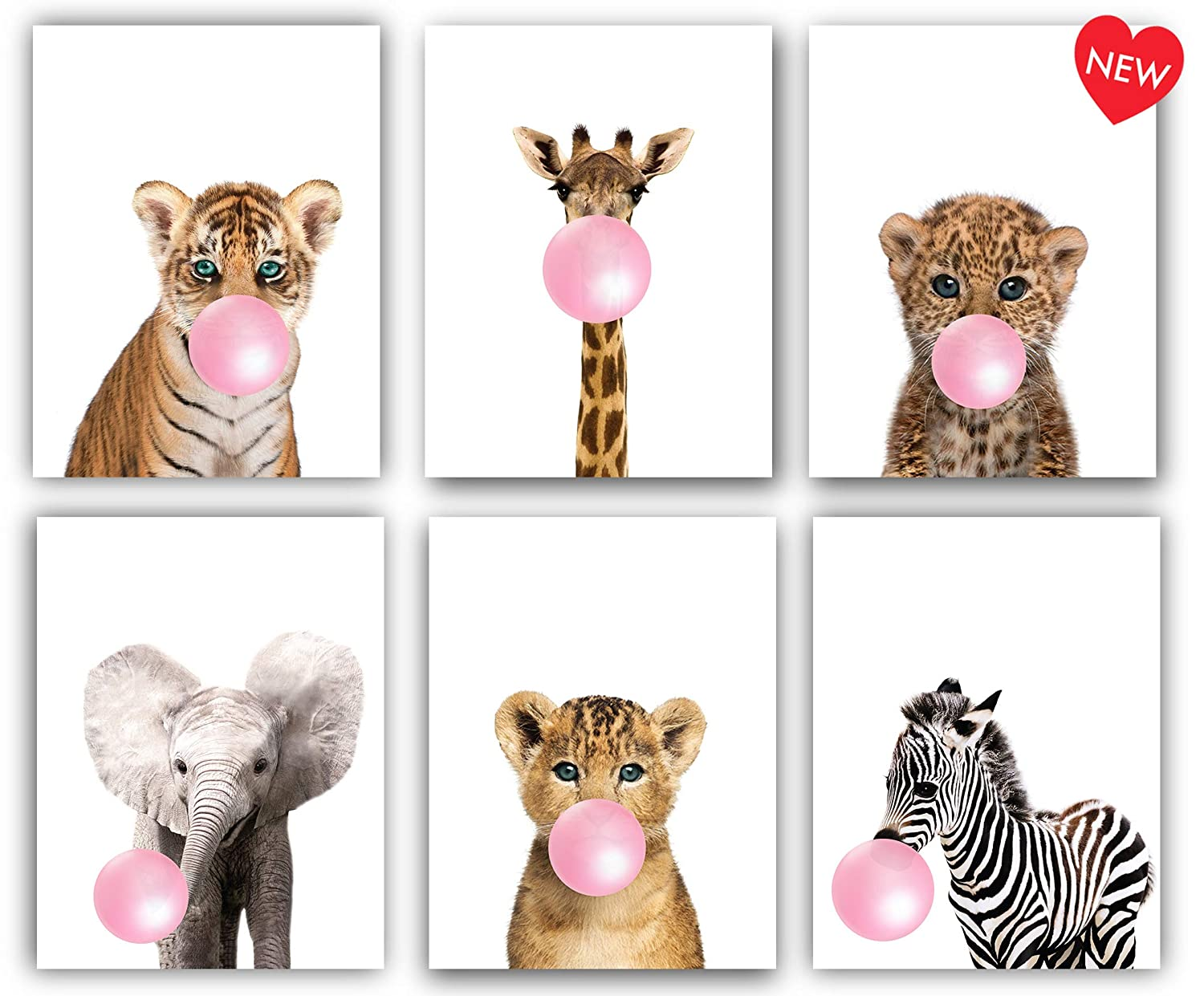 Safari Pink Bubblegum Baby Animals Nursery Decor Art - Set of 6 UNFRAMED Wall Prints 8x10 (Pink)