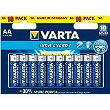 Varta De Pilas Alcalinas, Aa, Aa, Lr06, 1.5V De Alta Energía, Menor De La Ampolla (10-Pack)