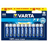 Varta High Energy Batterie AA Mignon Alkaline Batterien LR6 - 10er Pack