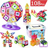 Kingstar 102 Pcs Educational Magnetic Building Blocks Toys Set,Intelligence Magnet Bricks Tiles Building Construction Block Clear Stacking Toy Kit with Storage Box for Kid Toddlers