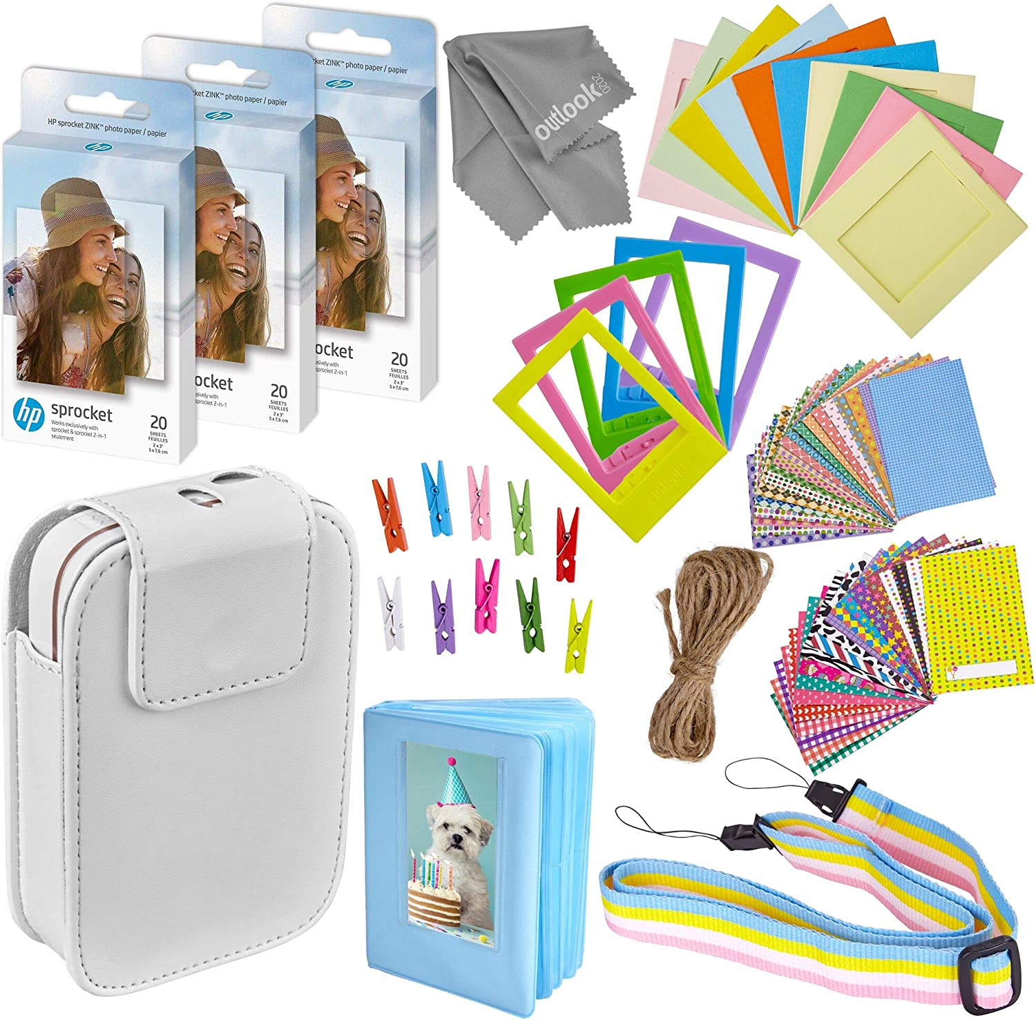 Zink Photo Paper and Frames Kit – 60 Pack - Sticker Paper for HP Sprocket Portable Printer - Sticky 2x3 Sheets for Printing Pocket Size Phone Pictures - With Photo Album, Case, Frames, Clips