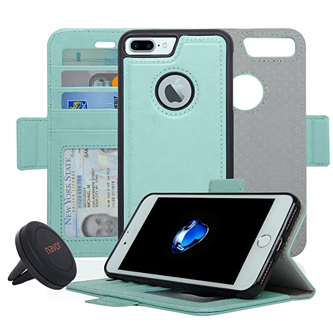 a907a4940d81 Navor Detachable Magnetic Wallet Case and Universal Car Mount Compatible  for iPhone 7 Plus [RFID Protection] [Vajio Series]-Mint