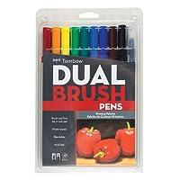 Tombow Marcadores artísticos de doble punta, colores primarios, paquete de 10