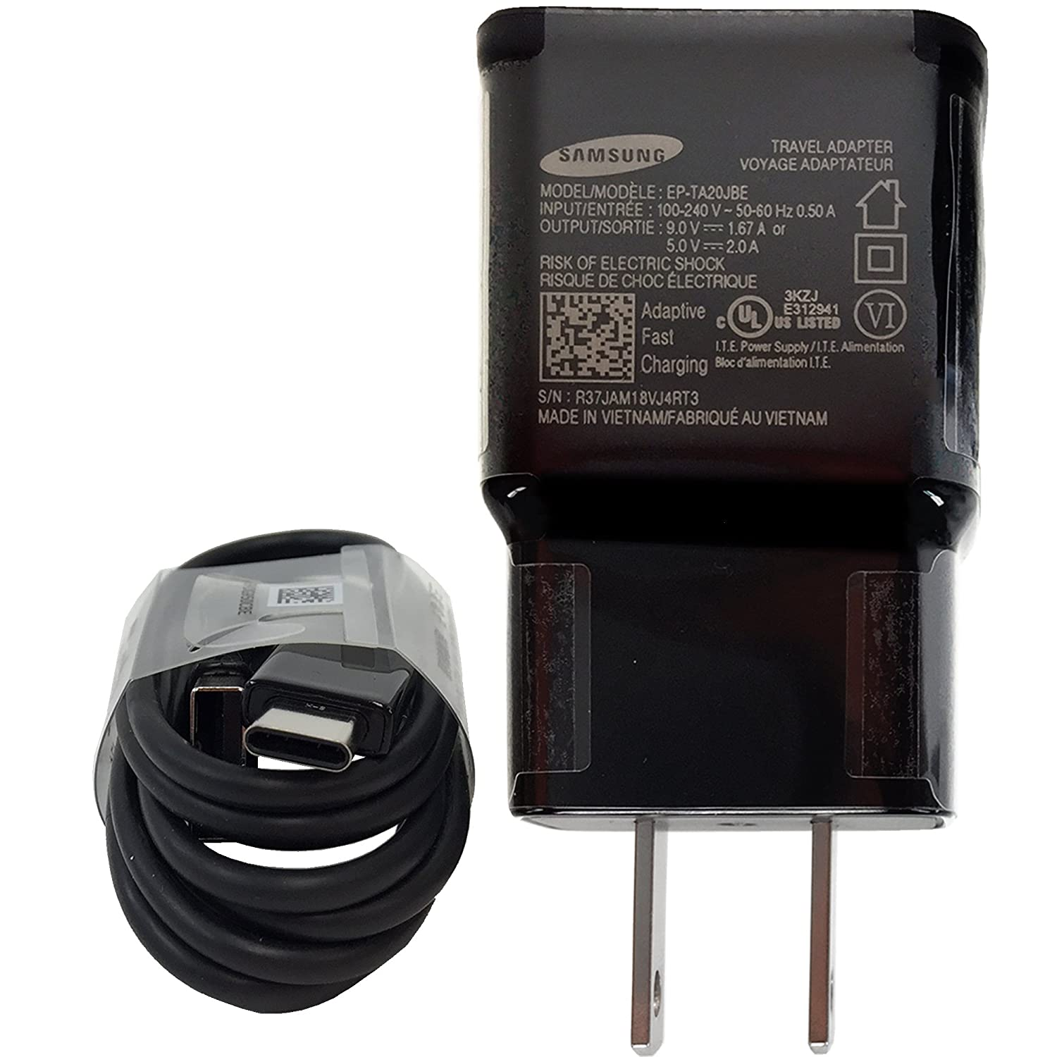 ET-TA20JW//EP-G925UWE 4FT for Samsung Galaxy S8//S8 plus//Note8 and Car Charger Offical OEM Samsung Adaptive Fast Charging Charger US Retail Packing Kit
