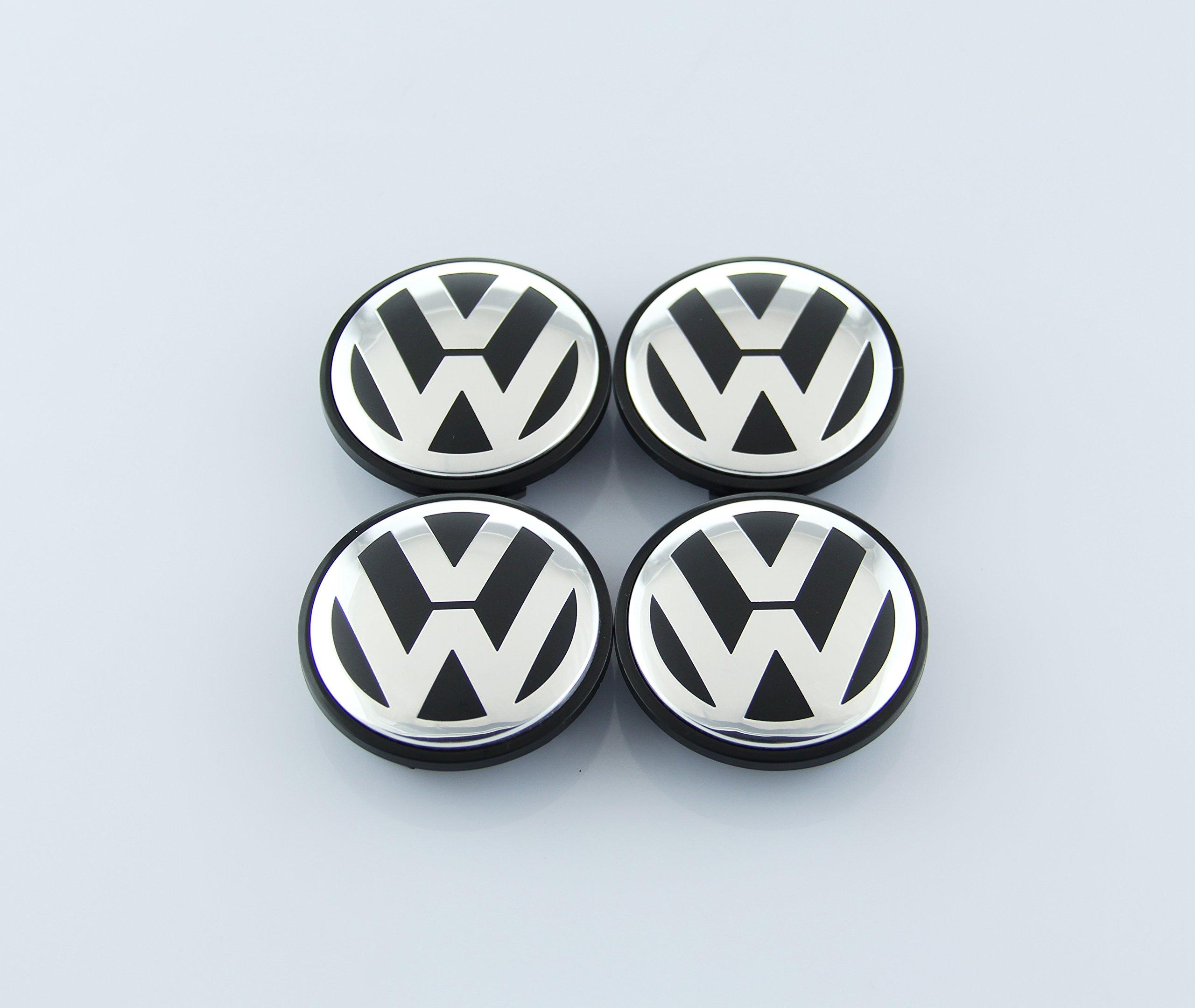 ZZHF1 VW Wheel Center Caps 65mm for Volkswagen Beetle CC EOS GTI Golf Jetta Passat Phaeton Tiguan 3B7601171 (4Pcs)