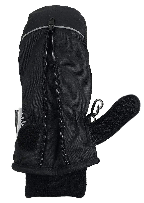 NIce Caps Kids Thinsulate Waterproof Easy On Zip-Up Reflector Winter Mittens