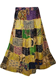 Captivating Mogul Interior Mogulinterior Womens Patchwork Skirts Artistically Inspired  Flowy Vintage Ethnic Printed Long Skirts
