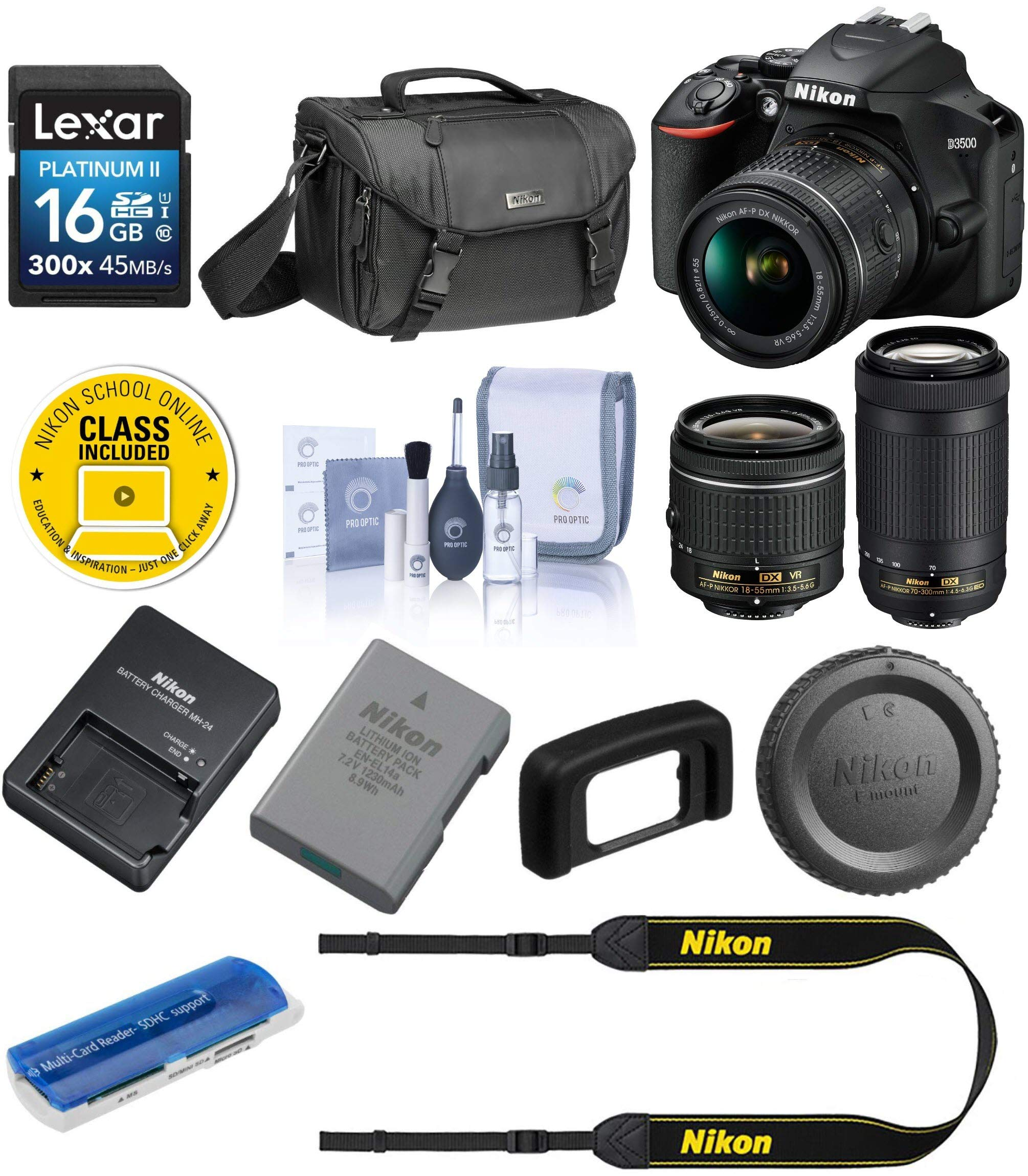 Nikon D3500 24MP DSLR Camera with AF-P DX NIKKOR 18-55mm f/3.5-5.6G VR Lens and AF-P DX NIKKOR 70-300mm f/4.5-6.3G ED Lens - Bundle with Camera Case, 16GB SDHC Card, Cleaning Kit, Card Reader by Nikon (Image #1)